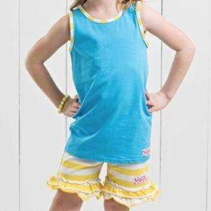 Ruffle Girl Matching Sets - Ruffle Girl Blue & Yellow/White Ruffle Shortie Set